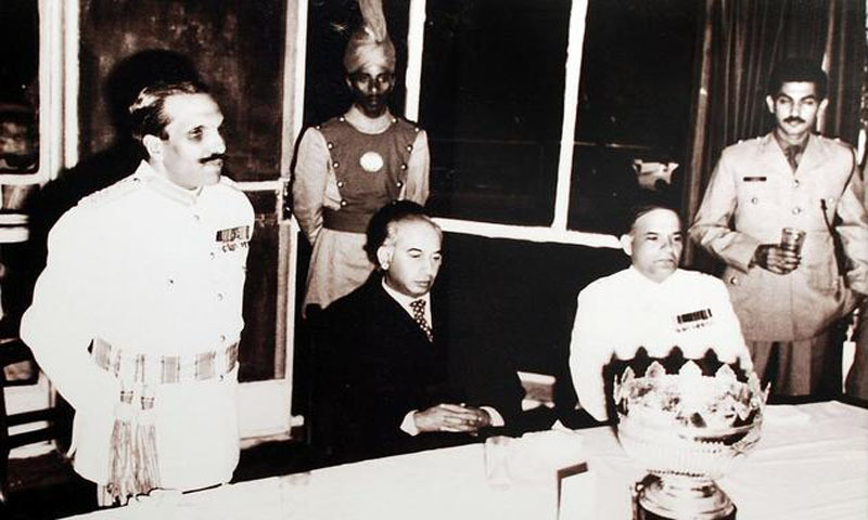 General Ziaul Haq and Major General Akhtar Abdur Rehman with Zulfiqar Ali Bhutto in Murree, 1976