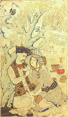 Shah Abbas I of Persia with a boy. By Muhammad Qasim (1627).