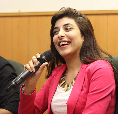 Actor Urwa Hocaine smiles during an interactive session of Na Maloom Afraad's team with the students of IoBM. — Photo by Muhammad Haseeb Halai