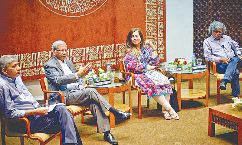 KAISER Bengali (second left), Ayesha Tammy Haq and Ghazi Salahuddin at a panel discussion on 'Pakistan's rising political temperature' held at the Aga Khan University Auditorium on Tuesday.—White Star