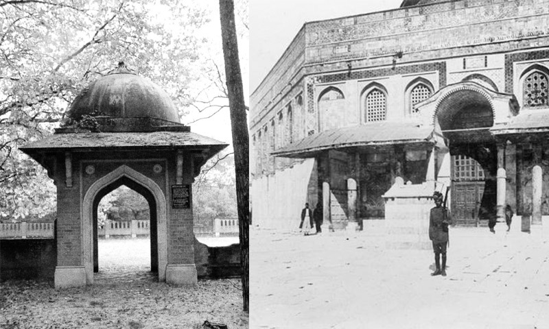Woking Muslim burial ground. Image CWGC & Muslim soldier of the 58th Rifles guarding Qubbat As-Sakhrah. — Copyright IWM