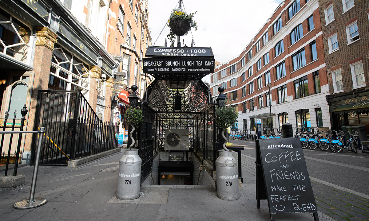 "A picture shows the exterior of ""Attendant"", a former public toilet that has been converted into a coffee shop and sandwich bar in central London. — Photo by AFP"