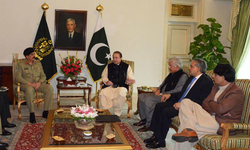 File photo shows Prime Minister Nawaz Sharif in a meeting with Army Chief Gen Raheel Sharif, Defence Minister Khawaja Asif, Finance Minister Ishaq Dar, and Interior Minister Chaudhry Nisar Ali Khan.—File Photo