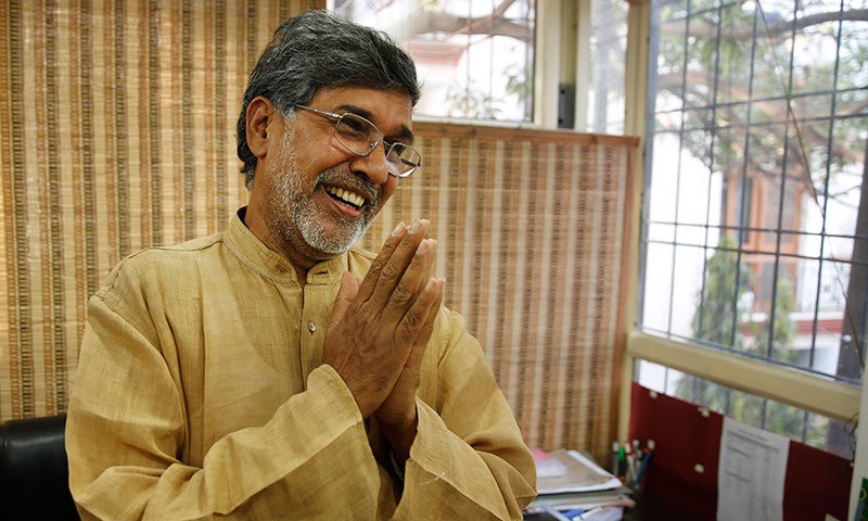 Indian children's rights activist Kailash Satyarthi gestures as he addresses the media at his office in New Delhi, India, Friday, Oct 10, 2014. – AP Photo
