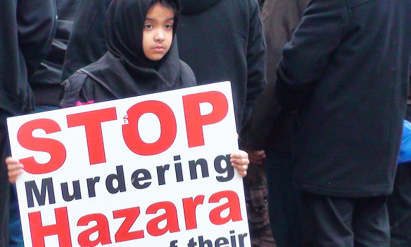 A young girl protests against Hazara killings in Toronto. – Photo by Murtaza Haider/File
