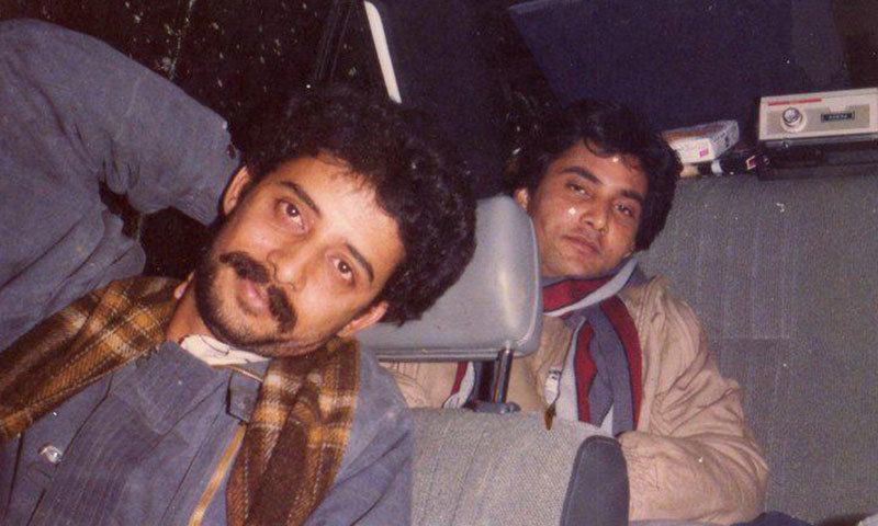 Najeeb Ahmed with a PSF comrade in 1988.