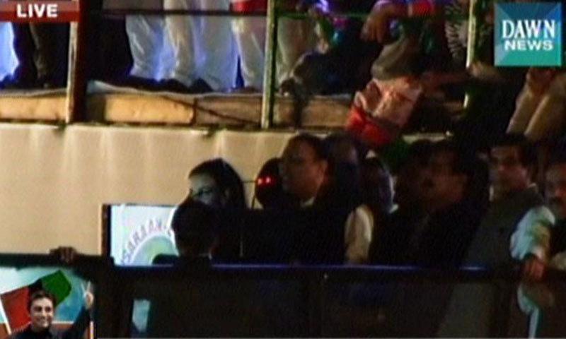 – Screen grab shows Asif Ali Zardari speaking at the rally