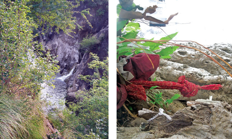A stream that flows near the Sangni Fort. (L) Pieces of cloth tied to branches of an old Banyan tree. This practice known as 'Mannat' is common among devotees of the saint. (R)