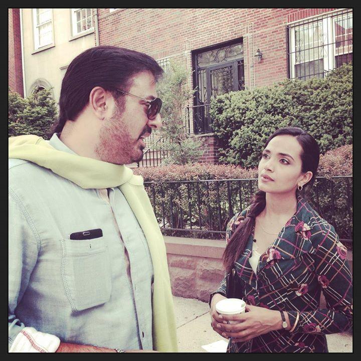Nauman Ijaz and Aamina Sheikh on the set of Jackson Heights. – Photo Courtesy: Mehreen Jabbar