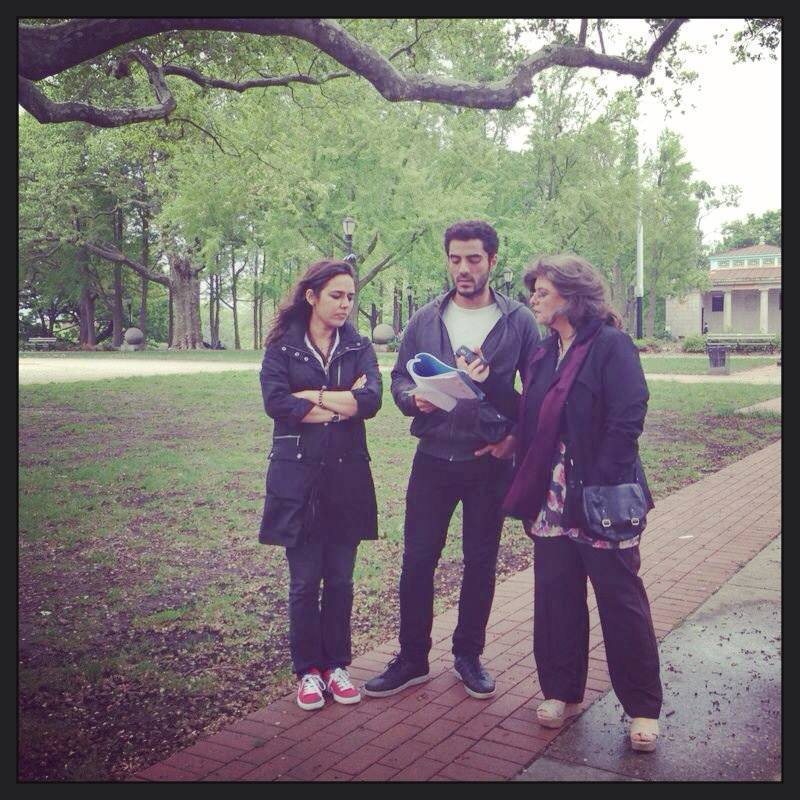 Mehreen Jabbar with actor Adeel Hussain and Marina Khan. – Photo Courtesy: Jackson Heights Official Page