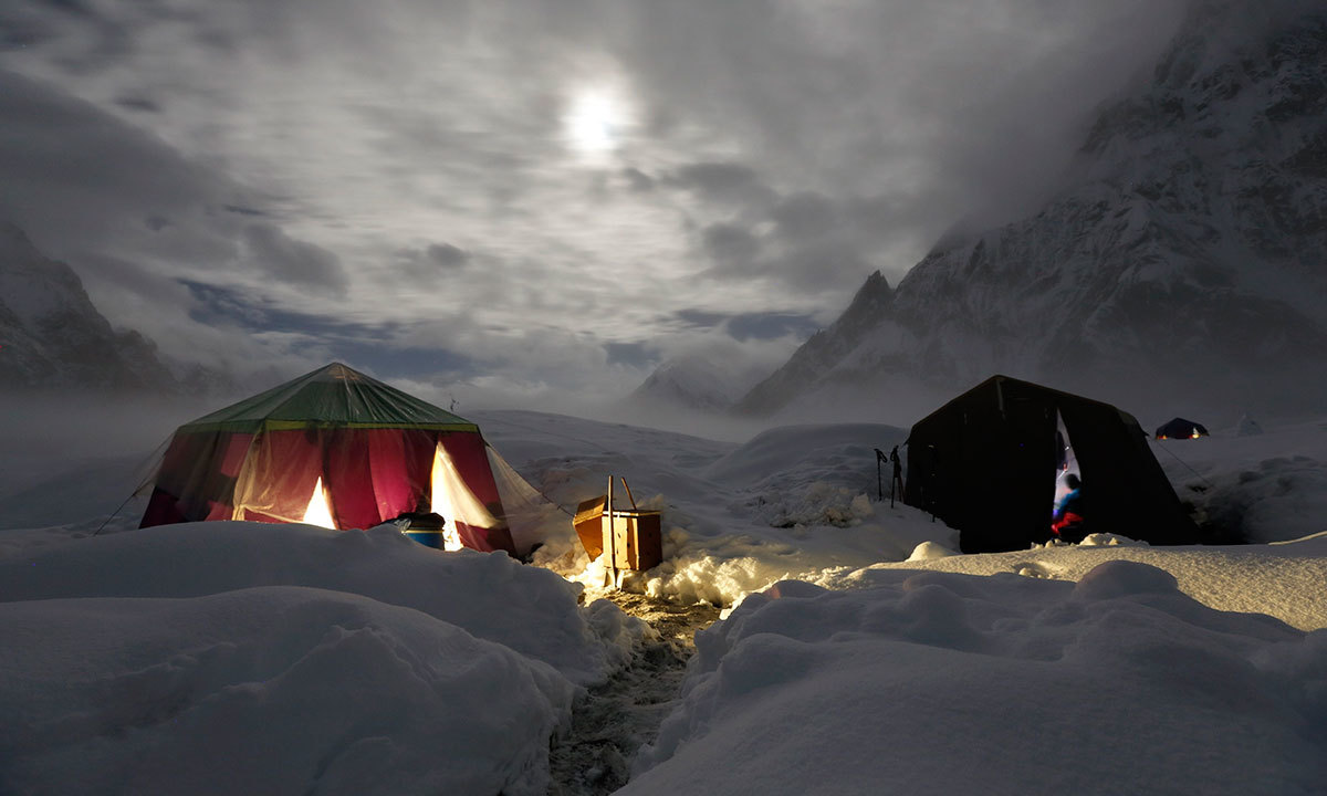The moon illuminates the snow-covered Concordia, the confluence of the Baltoro and Godwin-Austen glaciers, near the world's second highest mountain the K2 (8,000 meters) in the Karakoram mountain range in Pakistan. -Reuters Photo