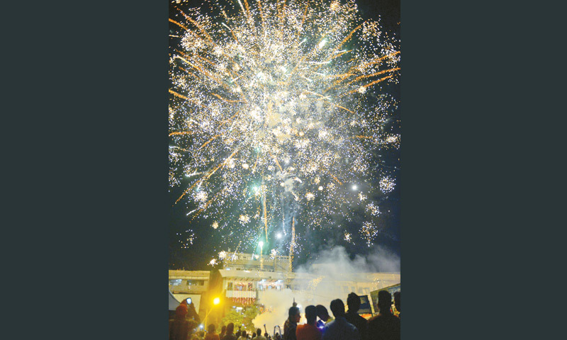 THE sky over Shri Swaminarayan Mandir is illuminated with fireworks on Thursday. —Fahim Siddiqi / White Star