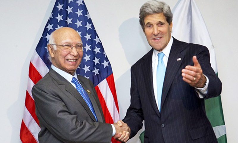 Sartaj Aziz says experience with lobbyists was not very encouraging in the past..—AFP file photo