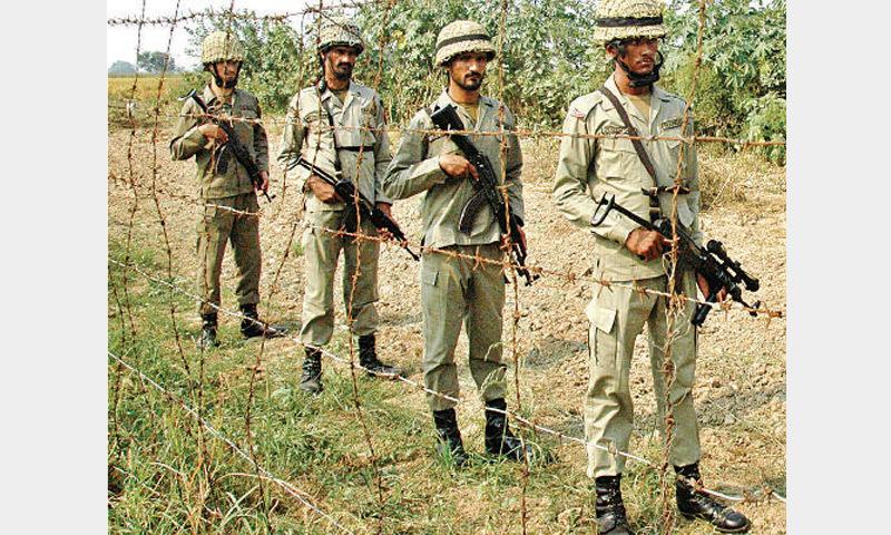 Rangers patrol along the working boundary near Wagah Border. – Online
