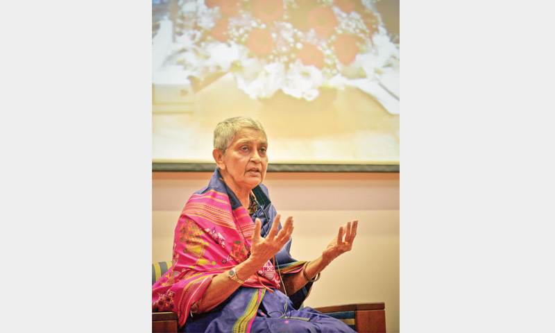 PROF Gayatri Chakravorty Spivak delivers the keynote address at the education conference on Saturday.—White Star