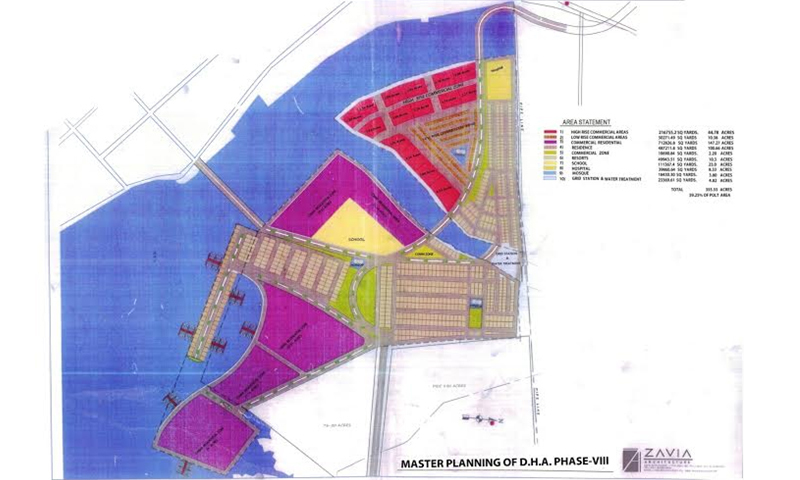 Map of DHA Phase VIII developed by Zavia Architects