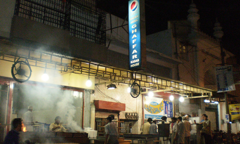 The original Sheikh Abdul Ghaffar Kebab House off Tariq Road.  – Photo by author