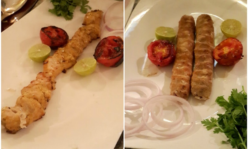 Chicken joojeh kebab and chicken seekh kebab koobideh. — Photos by author.