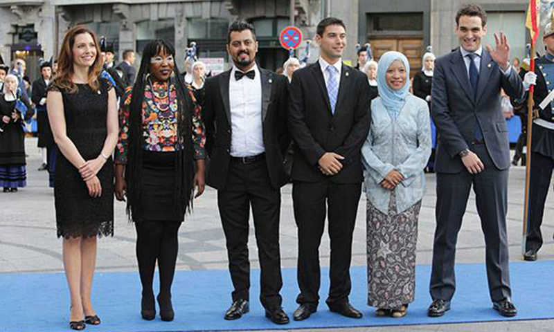 Shehzad Hameed Ahmad (third from right) poses for a group photo during the Prince of Asturias Award ceremony in Oviedo, Spain. — Courtesy photo/Shehzad Hameed Ahmad
