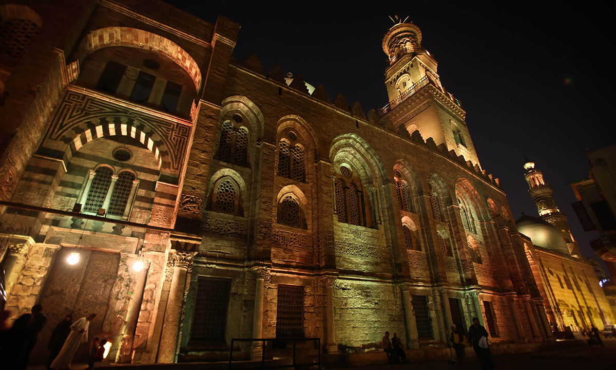 Madrassa (school) of Al-Nasir Mohammad on Al-Mu'izz al-Din Illah Street, one of the most important historical streets in the Islamic quarter of Cairo. — Photo by AFP