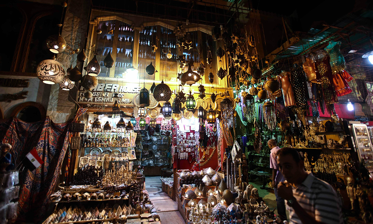 A bazaar on Al-Mu'izz al-Din Illah Street, one of the most important historical streets in the Islamic quarter of Cairo. — Photo by AFP