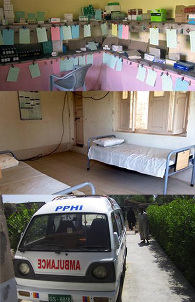 Ward, ambulance and medicine facilities at PPHI BHU Jacobabad.