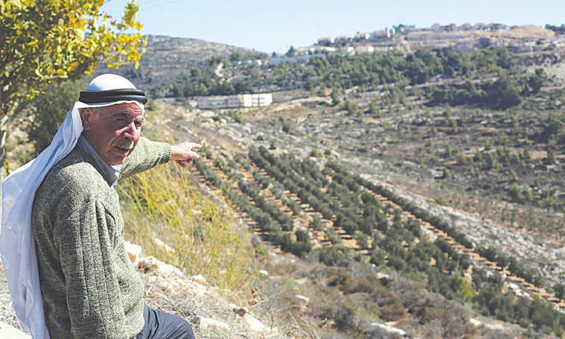 PALESTINIAN farmer Abbas Yusef points towards his olive trees on land either side of an Israeli settlement in the occupied West Bank in the village of Al-Janiya, west of Ramallah.—AFP