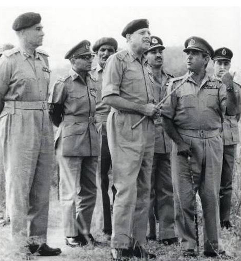 Ayub in consultation with some of his officers during the 1965 Pakistan-India war. The war ended in a stalemate.