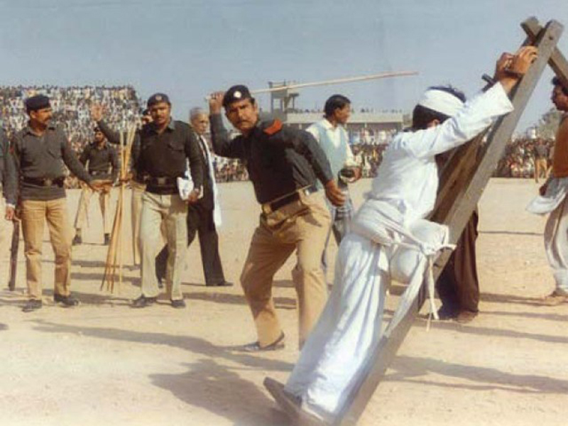 Public floggings were regularly used during the early years of the Zia dictatorship to disperse opposition against the regime and infuse in the society a sense of fear.
