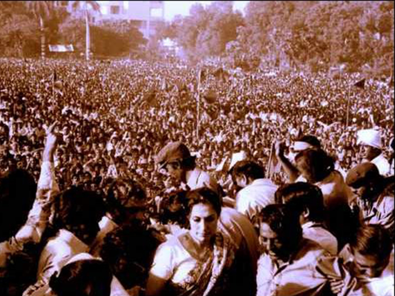 Bhutto's widow after addressing a large MRD rally in Karachi. She was immediately arrested and put under house arrest.