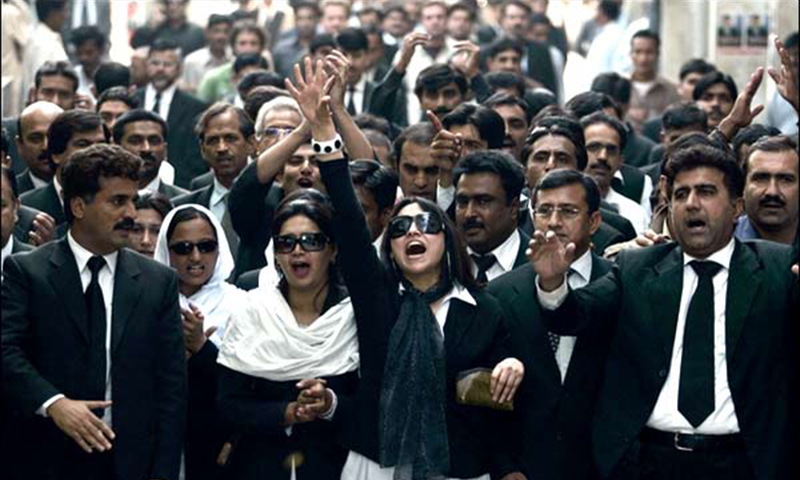 A group of lawyers chanting slogans against Musharraf (2006).