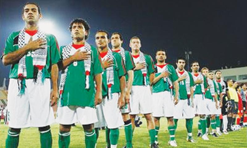 The Palestine team, which beat Pakistan 2-0