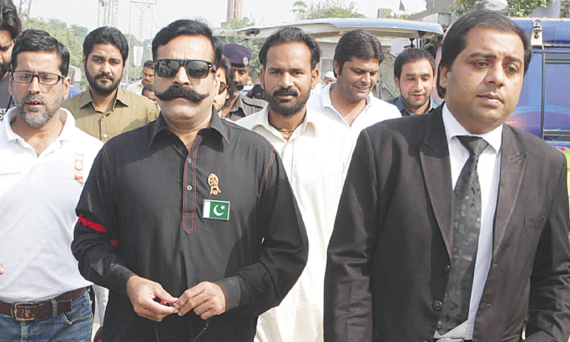Shahid Aziz alias Gullu Butt arriving at the anti-terrorism court which jailed him for over 11 years. —Tariq Mahmood / White Star