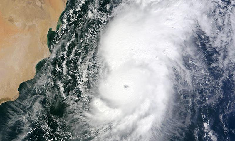 NASA satellite photo shows Tropical Cyclone Nilofar in the Arabian Sea.