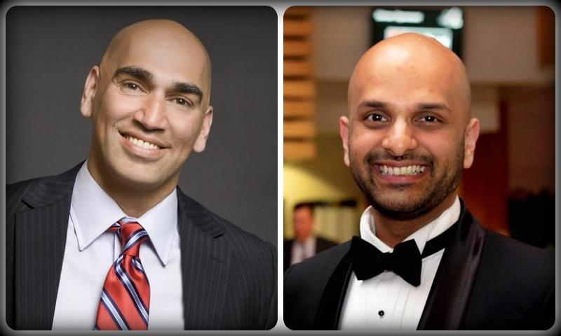 کامیاب پاکستانی امیدوار ذیشان حامد (دائیں)، اور میکس خان (بائیں)