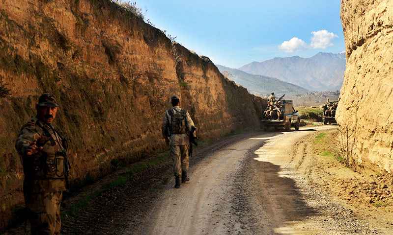 The image shows army soldiers deployed in Fata. — Photo by AFP/File