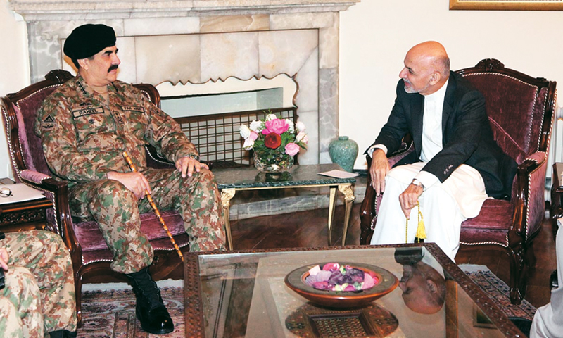 KABUL: Army Chief General Raheel Sharif holding talks with Afghan President Ashraf Ghani here on  Thursday.—Online