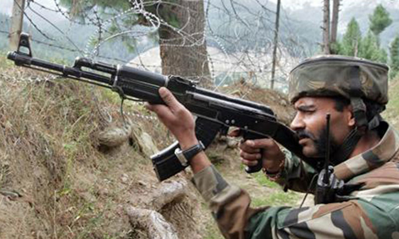 An Indian army soldier takes position near his camp. — Reuters/File