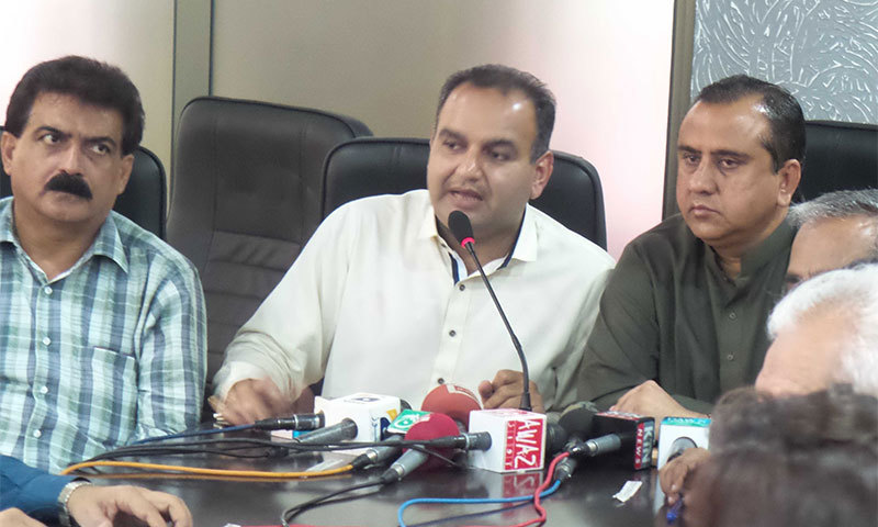 MNA Dr Ramesh Kumar Vankwani addressing a press conference to condemn the increase in number of crimes against minorities. -Press release photo
