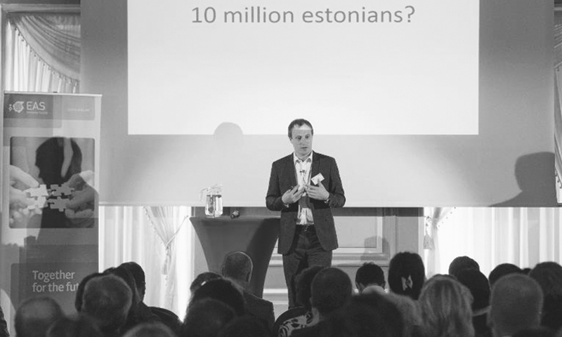 TAAVI Kotka presents the e-residency identification card project dubbed '10 million Estonians' set to take effect in December. —AFP