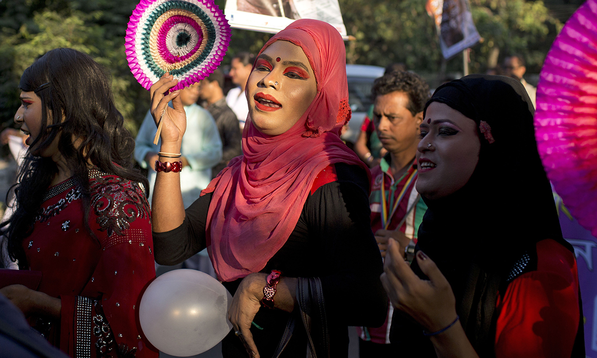 Members of transgender community at the pride rally in Dhaka.— AP Photo