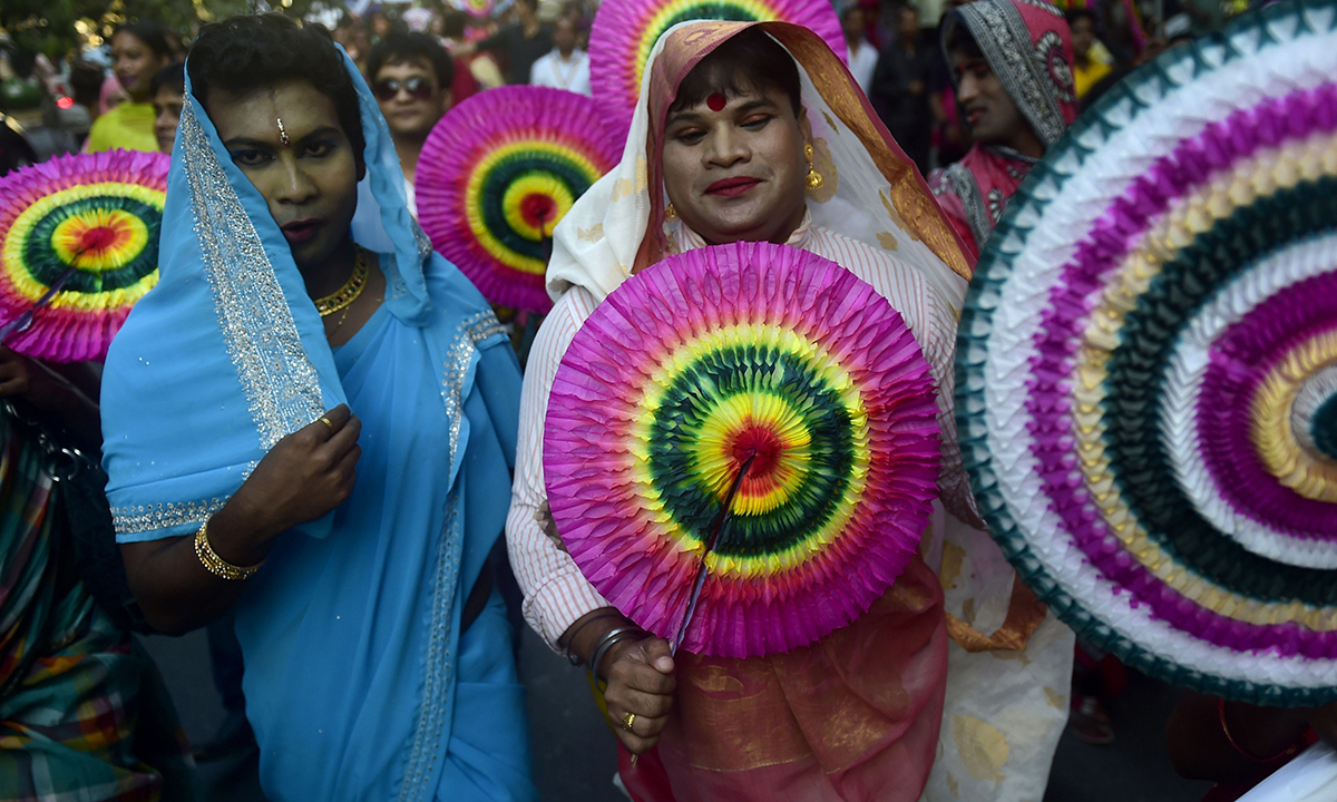 Transgenders celebrate 'Hijra Day' in Dhaka.— AFP Photo