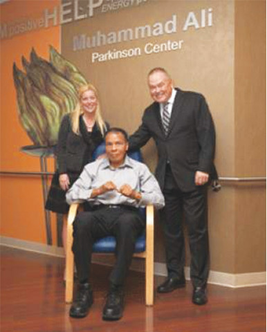 Muhammad Ali at the Parkinson's Center set up in his name.