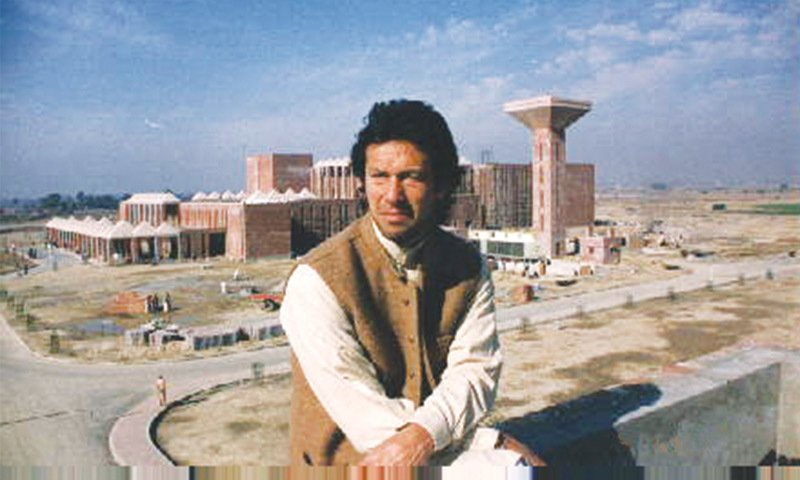Imran Khan with Shaukat Khanum Cancer Hospital in the background