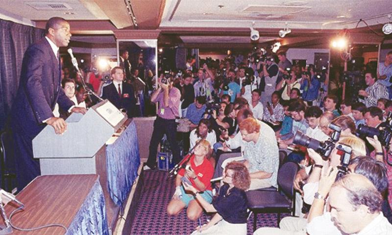 Magic Johnson during his HIV press conference