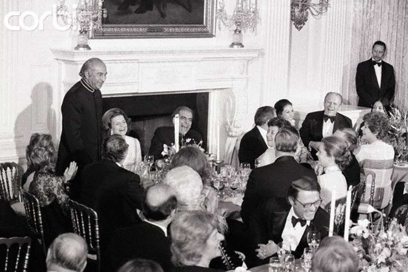 ZA Bhutto raising a toast at a state dinner during his 1975 trip to the US.