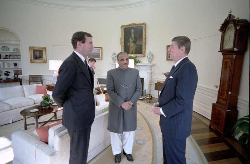 Zia at the White House with Ronald Reagan.