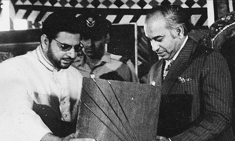 April 1972, Maulana Kauser Niazi with Bhutto. — Courtesy photo