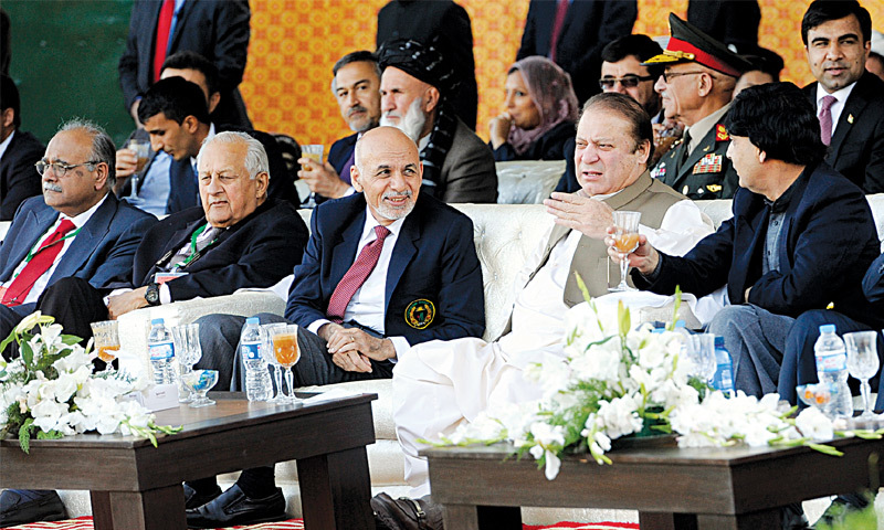 ISLAMABAD: Prime Minister Nawaz Sharif and Afghan President Ashraf Ghani (second from left) watch a cricket match between Pakistan A and Afghanistan A here on Saturday.—Tanveer Shahzad/White Star