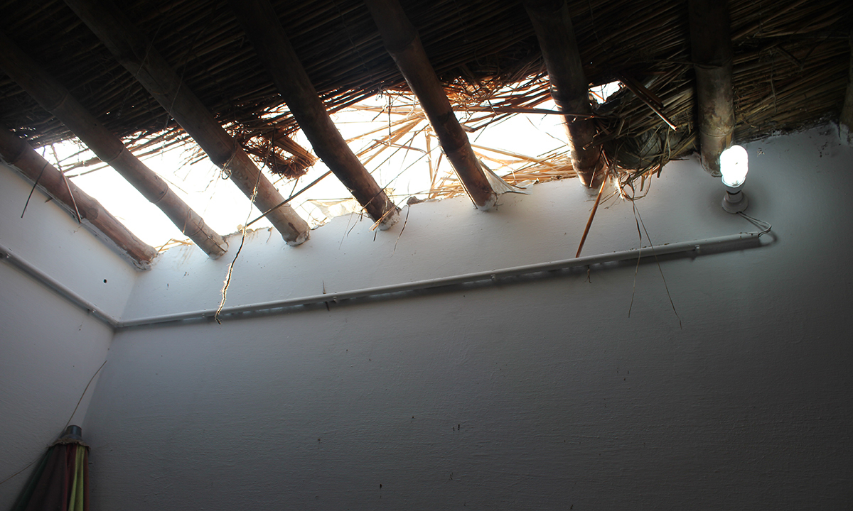 Roof of office from where mob dropped down to attack. — Photo by Xari Jalil